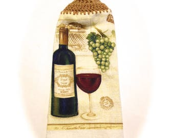 Wine And Grapes Hand Towel With Warm Brown Crocheted Top