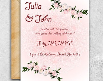 3 Piece Suite, Pink Wedding Invitation, Floral Wedding Invitations, DIY Wedding Invitations, Gentle invitations, Lacy Save The Date