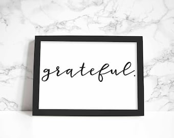 Grateful print, wall art, quote