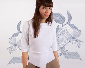 Work Top, White Shirt, White Peplum Top, Futuristic Clothing, Japanese Clothing, Minimalist Top, Asymmetric Top,Trendy Plus Size Clothing
