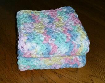 Crochet Cotton Dishcloth set of 2 in Pretty Pastels