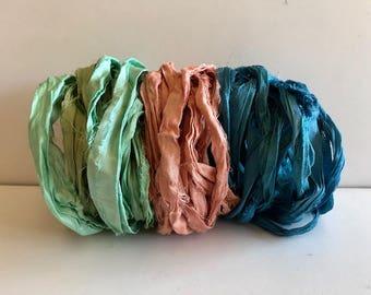 Sari Silk Ribbon-Seafoam, Peach & Blue Sari Ribbon-9 Yards