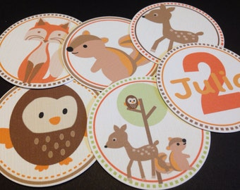 """Forest Friends, 75 Personalized Party Circles 1.5"""", Used for Cupcake Toppers, Favor Tags and Party Decorations"""