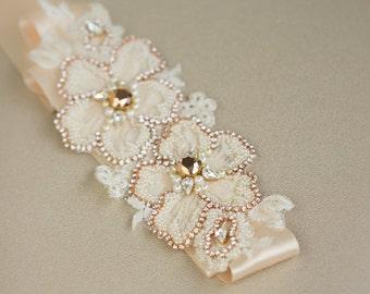 Bridal belt, Rose Gold belt, Wedding dress belt, Rose gold sashes belts, Lace Wedding belt, Lace Bridal sash, Ribbon Wedding sash belt