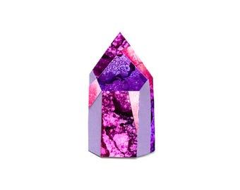 The Purple (Phantom quartz) crystal. A4 print of sashamareedesign alcohol ink collage original art.