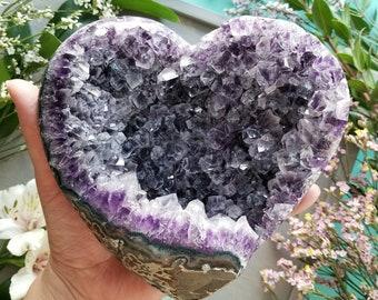 Amethyst Geode Heart > Huge Natural Amethyst Crystal Cluster from Uruguay > Crystal Druzy Heart, Purple Crystals - 3.2lbs