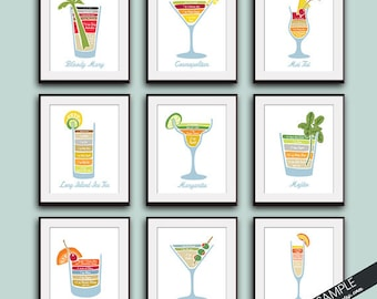 Mixed Drinks Recipe Diagram (Alcohol Bartender Series) Set of 9 Art Prints (Featured on Vintage Chalkboard)