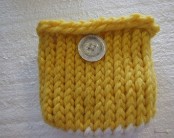 Yellow and white Mini  Knit Bag and gadget case