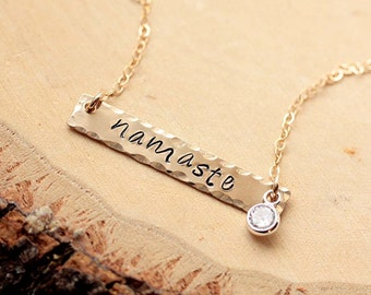 Namaste Necklace, Bar Necklace, Dainty Gold Filled Yoga Necklace, Gold Filled Bar Charm, Rectangle Necklace, Layering Necklace, Hand Stamped