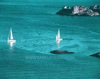Nautical photography, sailboat photo, beach decor, summer picture, sea photo, vintage inspired teal blue