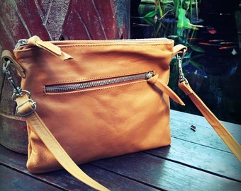 Small Leather crossbody bag. Simple compact and stylish made from soft leather, cotton lined. Real leather crossbody bag, evening bag.