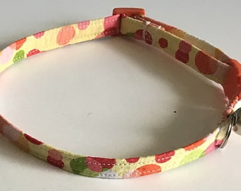 Yellow Summer Cat Collar with Breakaway Buckle and Bell