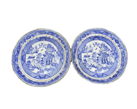 Antique Blue and White Willow Pattern Saucers by Redfern and Drakeford