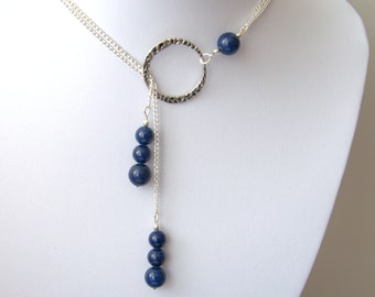 Valentine's Lapis Lazuli necklace Blue Lapis necklace Y necklace lariat Valentine gift for her Round Beads beaded necklace jewelry jewellery