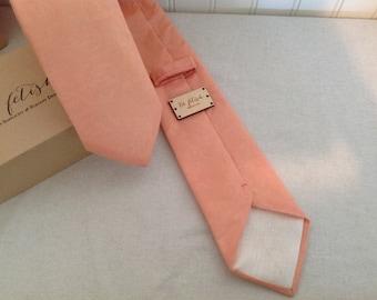Peach damask neck tie