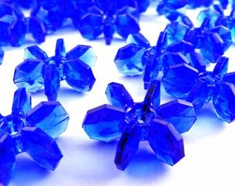 Large Plastic Sapphire Blue Starflake Beads Vintage Lot of 20