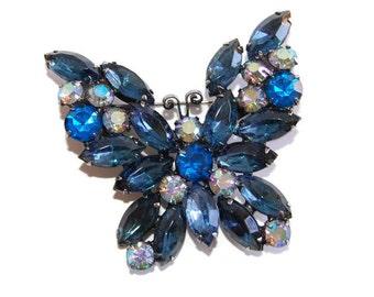 Weiss Rhinestone Butterfly Brooch Designer Vintage Midcentury Aurora Borealis Jewelry