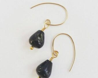 Minimalist Astrophyllite Gold Drop Earrings. 14K gold fill gemstone drop earrings. Gemstone drop earrings. Gold drop earrings. Black drops.