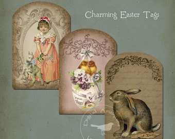 Charming Easter Tags Printable Instant Digital Download