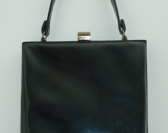 Vintage Slim Handbag, Black Patent Leather by Mam'Selle Original of New York,  1940's, Women's Ladies Fashion, Post WWII