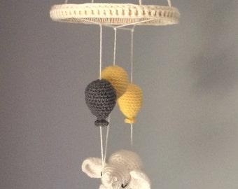 Sleepy Elephant and Balloons Nursery Mobile | Gender Neutral Yellow Gray White Elephant and Balloons Baby Mobile | Handmade Crochet Mobile