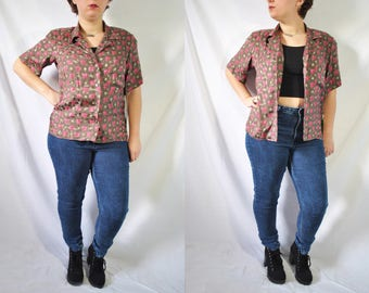 Vintage 80s Anne Klein Gray Button Up Blouse Short Sleeved Office Shirt Quirky New Wave Top Hip Hop Casual Hipster Blouse