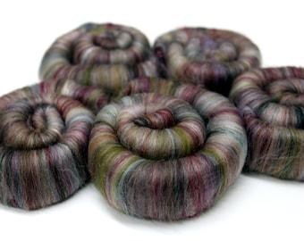 Punis Rolags Merino & Silk Tapestry Fine Merino Wool XL Spinning and Felting Fibre 100g