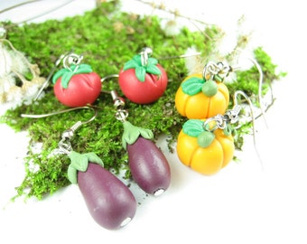 Pumpkin, Tomato and Eggplant Earrings - food jewelry, vegan earrings jewelry, vegan gift, gift for her, best friend gift, polymer clay, cute