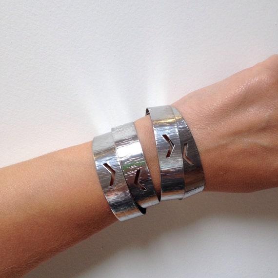 Chevron Adjustable Cuff - Bangle -Silver - Stainless Steel - Modern - Simple - Minimalist - Geometric Cuff - Silver Bangle -