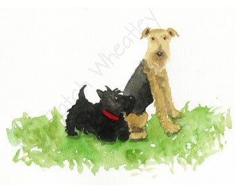 Airedale Terrier & Scottie Dog  Art Print #132 A5 or 8x6 inch