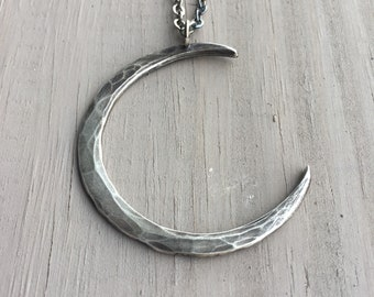 Silver Moon Necklace Sterling Silver Necklace Crescent Moon Pendant Sterling Moon Necklace Daniellerosebean Crescent Moon Necklace