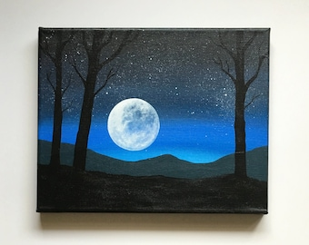 Night Sky | Original Acrylic Painting | 8x10 Inches | By Janelle Anakotta
