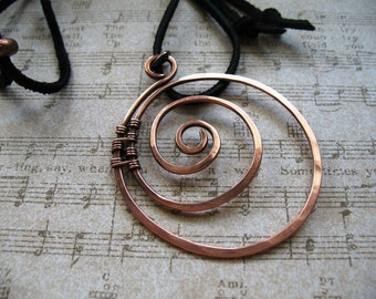 Twisted, a Copper Pendant Necklace, Copper Pendant on a Black Leather Cord, Adjustable, Handmade Necklace