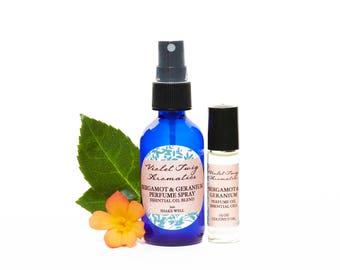 Bergamot & Geranium Perfume - Natural Perfume - Women's Fragrance - Essential Oils - Perfume Spray - Floral Perfume - Rollerball Fragrance