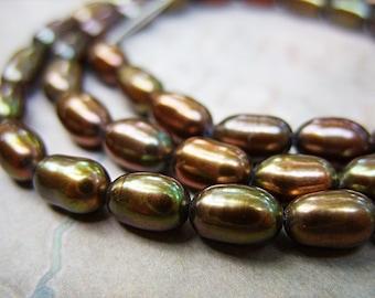 Bronze Freshwater Pearls - Kinda Green/Kinda Brown - B-6403
