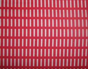 New Walk in the Woods By Aneela Hoey For Moda 1 yard cotton quilt fabric Pink retangle shape on red back ground