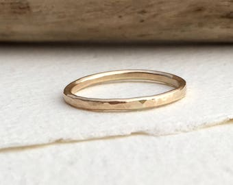 Hammered Solid Gold Ring - Gold Band - Wedding Band - Wedding Ring - Wedding Jewelry