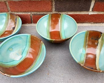 "Pottery Cereal Bowl, Pottery Soup Bowl, Brown Stripe Green Turquoise Teal 6.5"" x 3.5"""