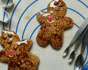 Gingerbread Pair Ornament, cookie ornament, ginger couple