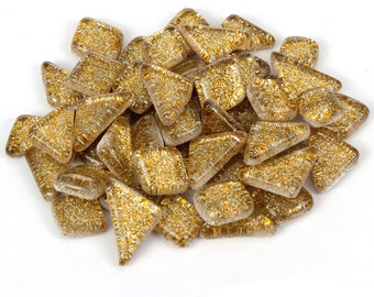 Gold Glitter Mosaic Tile Pieces - Bulk Sparkle Mosaic Tiles - Shimmer Tile Assortment - Light Brown Tile