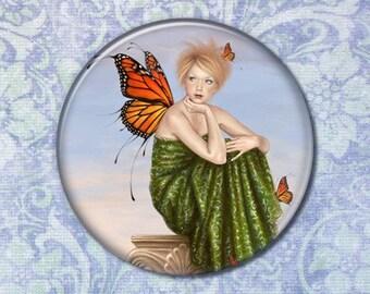 Sunrise Monarch Butterfly Fairy Pocket Mirror