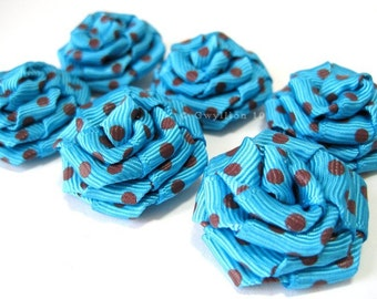 Turquoise and Brown Polka Dot Rose Drops - (6)