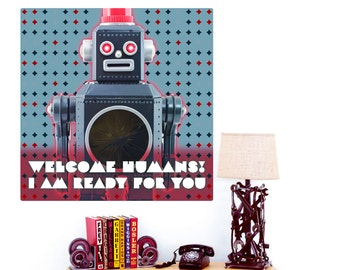 Welcome Humans Toy Robot Wall Decal - #55756