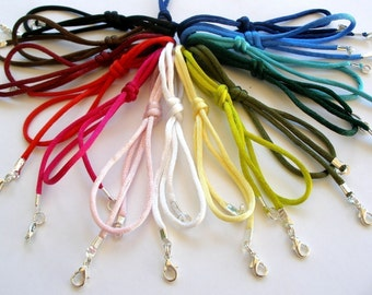 "6 pc Rattail Satin Cord Necklaces Handmade in USA Black Brown Blue Red Pink White Olive Green 14"" 16"" 17"" 18"" 19"" 20"" 22"" 24"" 26"" 28"" 30"""