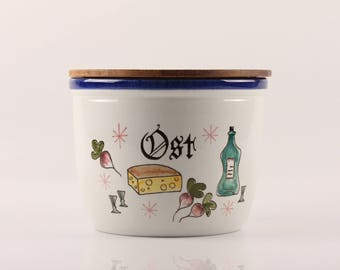 Pernille, Knabstrup - Large Kitchen Jar with Wooden Lid - Danish Design Mid Century Modern