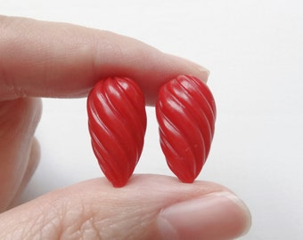 Synthetic Red Coral Half Top Drilled Inverted Swirl Teardrops 9x18 mm  One Pair H5563