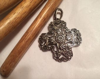 Vintage silvertone or sterling modified cross pendant, ornate detailed silvertone openwork pendant