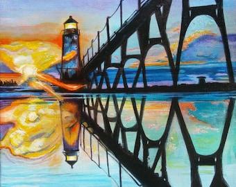 Manistee Michigan Lighthouse Original Acrylic Painting