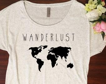 Wanderlust Shirt // Dolman slouchy style, Wanderlust tshirt, Soft travel shirt, Wander, Boho, Map, Graphic tee, Wanderer shirt