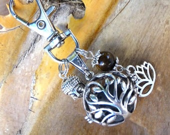 Keyring diffuser, essential oil, lava stone, tree of life, Buddha, Lotus Flower, aromatherapy